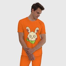 Пижама хлопковая мужская Чокнутый заяц цвета оранжевый — фото 2