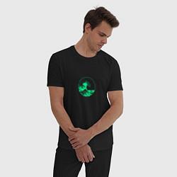 Пижама хлопковая мужская Большая волна неон цвета черный — фото 2