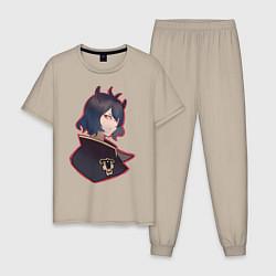 Пижама хлопковая мужская Nero цвета миндальный — фото 1