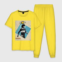 Пижама хлопковая мужская Марадона GOAT цвета желтый — фото 1