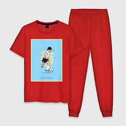 Пижама хлопковая мужская Maradona Golden boy цвета красный — фото 1