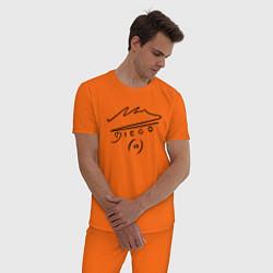 Пижама хлопковая мужская Diego Maradona Автограф цвета оранжевый — фото 2