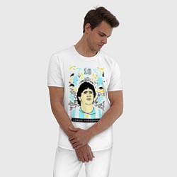 Пижама хлопковая мужская DIEGO MARADONA цвета белый — фото 2