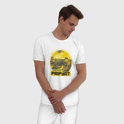 Пижама хлопковая мужская Visit Pripyat цвета белый — фото 2