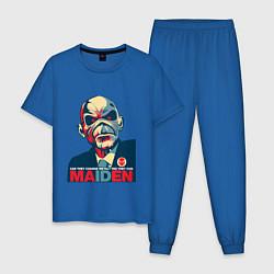 Пижама хлопковая мужская Iron Maiden eddie цвета синий — фото 1