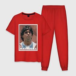 Пижама хлопковая мужская DIEGO MARADONA цвета красный — фото 1