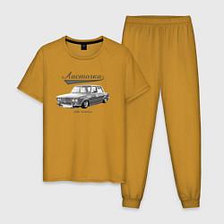 Пижама хлопковая мужская 2106 Ласточка цвета горчичный — фото 1