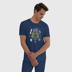 Пижама хлопковая мужская Слизерин цвета тёмно-синий — фото 2