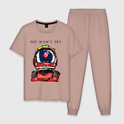 Пижама хлопковая мужская NO MANS SKY цвета пыльно-розовый — фото 1