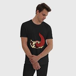 Пижама хлопковая мужская ГОЛОДНАЯ ПАСТЬ цвета черный — фото 2