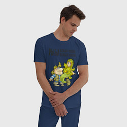 Пижама хлопковая мужская Рыба всякая нужна цвета тёмно-синий — фото 2