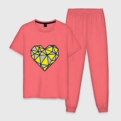 Пижама хлопковая мужская Сердце 2021 цвета коралловый — фото 1