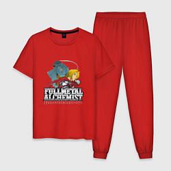 Пижама хлопковая мужская Стальной Алхимик цвета красный — фото 1