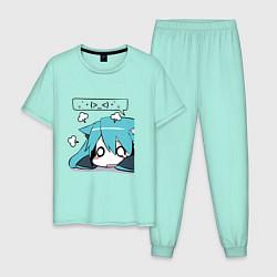 Пижама хлопковая мужская Грусть цвета мятный — фото 1