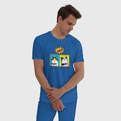 Пижама хлопковая мужская Коты Поп-Арт цвета синий — фото 2