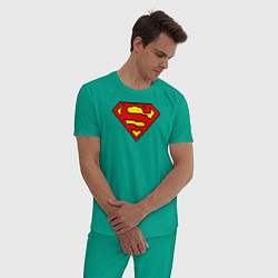 Пижама хлопковая мужская Superman 8 bit цвета зеленый — фото 2