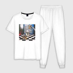 Пижама хлопковая мужская ЖИЗНЬ УДАЛАСЬ FACE цвета белый — фото 1