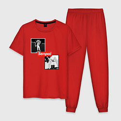 Пижама хлопковая мужская Anime Senpai цвета красный — фото 1