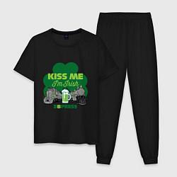 Пижама хлопковая мужская Поцелуй меня я ирландец цвета черный — фото 1