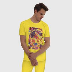 Пижама хлопковая мужская Медузы цвета желтый — фото 2