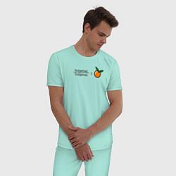Пижама хлопковая мужская Синус цвета мятный — фото 2
