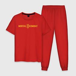 Пижама хлопковая мужская Мортал Комбат лого цвета красный — фото 1