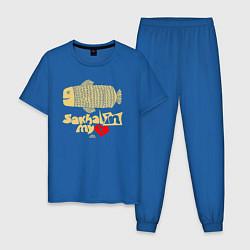Пижама хлопковая мужская Сахалин в моем сердце цвета синий — фото 1