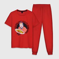 Пижама хлопковая мужская Любимая Бабуля с едой цвета красный — фото 1