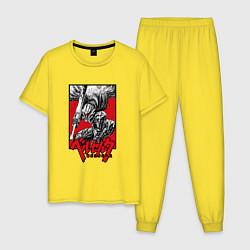 Пижама хлопковая мужская BERSERK БЕРСЕРК цвета желтый — фото 1