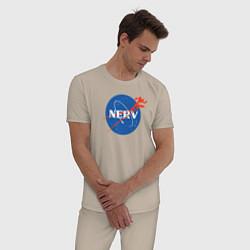 Пижама хлопковая мужская Nerv цвета миндальный — фото 2