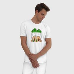 Пижама хлопковая мужская Доктор Стоун цвета белый — фото 2