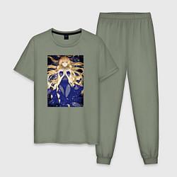 Пижама хлопковая мужская Кохаку Доктор Стоун цвета авокадо — фото 1