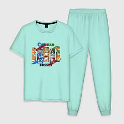 Пижама хлопковая мужская Bosses caphead цвета мятный — фото 1