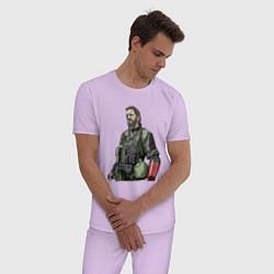 Пижама хлопковая мужская Солид Снейк цвета лаванда — фото 2