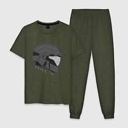 Пижама хлопковая мужская Спартанский профиль цвета меланж-хаки — фото 1
