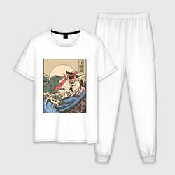 Пижама хлопковая мужская Cat Kong versus Godzilla Kaiju цвета белый — фото 1