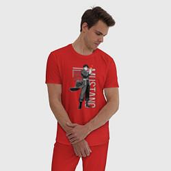 Пижама хлопковая мужская Стальной алхимик цвета красный — фото 2