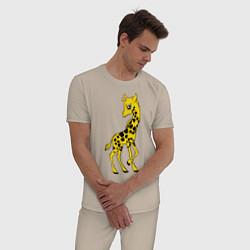 Пижама хлопковая мужская Маленький жираф цвета миндальный — фото 2