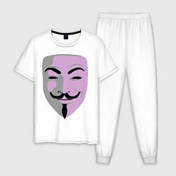 Пижама хлопковая мужская Маска Гая Фокса цвета белый — фото 1