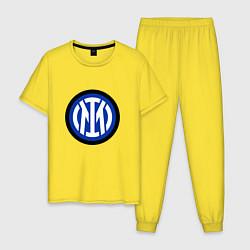 Пижама хлопковая мужская ИНТЕР ЛОГОТИП 2021 цвета желтый — фото 1