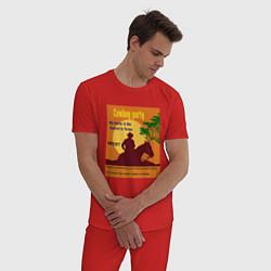 Пижама хлопковая мужская Лошадь и ковбой цвета красный — фото 2