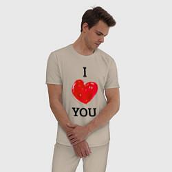 Пижама хлопковая мужская I LOVE YOU HEART Z цвета миндальный — фото 2