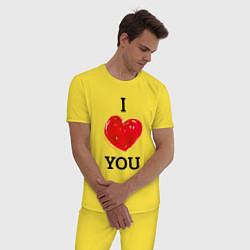 Пижама хлопковая мужская I LOVE YOU HEART Z цвета желтый — фото 2