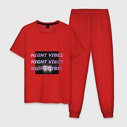 Пижама хлопковая мужская Ночные флюиды цвета красный — фото 1