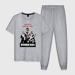 Пижама хлопковая мужская Green day: wake me up цвета меланж — фото 1