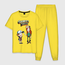 Пижама хлопковая мужская Friendzoned цвета желтый — фото 1
