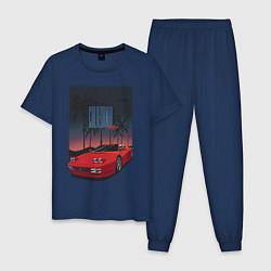 Пижама хлопковая мужская California 1987 цвета тёмно-синий — фото 1