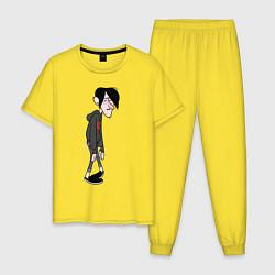 Пижама хлопковая мужская Прыщавый Робби цвета желтый — фото 1
