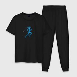 Пижама хлопковая мужская Run Women цвета черный — фото 1