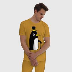Пижама хлопковая мужская Пингвин в шляпе цвета горчичный — фото 2